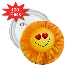 Smiley Joy Heart Love Smile 2 25  Buttons (100 Pack)