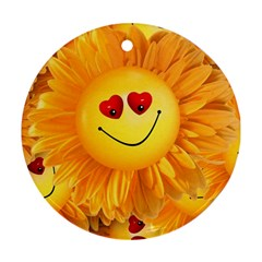 Smiley Joy Heart Love Smile Round Ornament (two Sides) by Nexatart