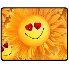 Smiley Joy Heart Love Smile Double Sided Fleece Blanket (medium)  by Nexatart