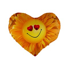 Smiley Joy Heart Love Smile Standard 16  Premium Flano Heart Shape Cushions by Nexatart