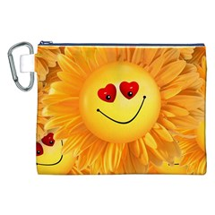 Smiley Joy Heart Love Smile Canvas Cosmetic Bag (xxl) by Nexatart