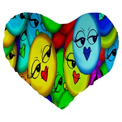 Smiley Girl Lesbian Community Large 19  Premium Heart Shape Cushions by Nexatart