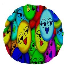 Smiley Girl Lesbian Community Large 18  Premium Flano Round Cushions by Nexatart