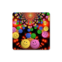 Smiley Laugh Funny Cheerful Square Magnet by Nexatart