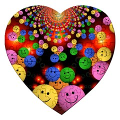 Smiley Laugh Funny Cheerful Jigsaw Puzzle (heart)