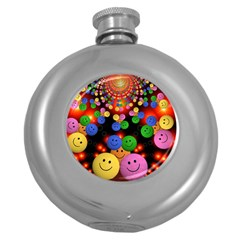 Smiley Laugh Funny Cheerful Round Hip Flask (5 Oz) by Nexatart