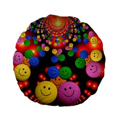 Smiley Laugh Funny Cheerful Standard 15  Premium Flano Round Cushions by Nexatart