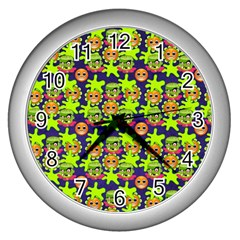 Smiley Background Smiley Grunge Wall Clocks (Silver)  by Nexatart