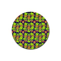 Smiley Background Smiley Grunge Rubber Coaster (round)