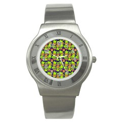 Smiley Background Smiley Grunge Stainless Steel Watch