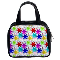 Snowflake Pattern Repeated Classic Handbags (2 Sides)