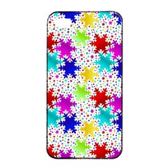 Snowflake Pattern Repeated Apple Iphone 4/4s Seamless Case (black)