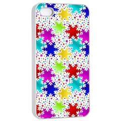 Snowflake Pattern Repeated Apple Iphone 4/4s Seamless Case (white)