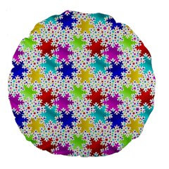 Snowflake Pattern Repeated Large 18  Premium Flano Round Cushions by Nexatart