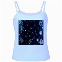 Snowflake Snow Snowing Winter Cold Baby Blue Spaghetti Tank
