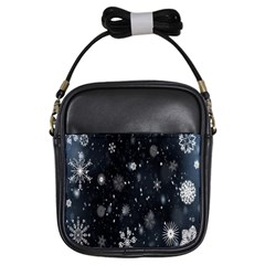 Snowflake Snow Snowing Winter Cold Girls Sling Bags