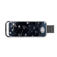 Snowflake Snow Snowing Winter Cold Portable Usb Flash (one Side) by Nexatart