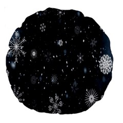 Snowflake Snow Snowing Winter Cold Large 18  Premium Round Cushions