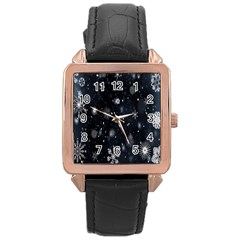 Snowflake Snow Snowing Winter Cold Rose Gold Leather Watch