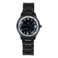 Snowflake Snow Snowing Winter Cold Stainless Steel Round Watch