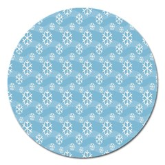Snowflakes Winter Christmas Magnet 5  (round) by Nexatart