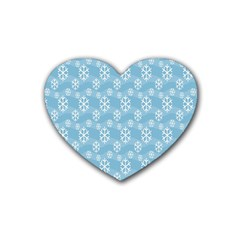 Snowflakes Winter Christmas Rubber Coaster (heart)