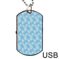 Snowflakes Winter Christmas Dog Tag Usb Flash (two Sides)