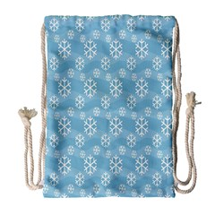 Snowflakes Winter Christmas Drawstring Bag (large)