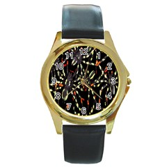 Spiders Colorful Round Gold Metal Watch