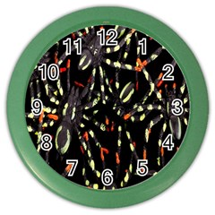 Spiders Colorful Color Wall Clocks by Nexatart