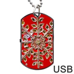 Snowflake Jeweled Dog Tag Usb Flash (two Sides)