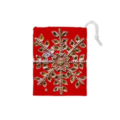 Snowflake Jeweled Drawstring Pouches (small)
