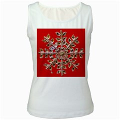 Snowflake Jeweled Women s White Tank Top