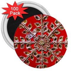Snowflake Jeweled 3  Magnets (100 Pack) by Nexatart