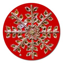 Snowflake Jeweled Magnet 5  (round)