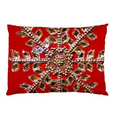 Snowflake Jeweled Pillow Case (two Sides) by Nexatart