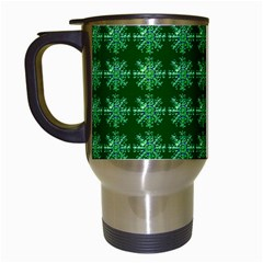 Snowflakes Square Travel Mugs (white)