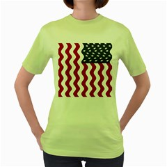 American Flag Women s Green T Shirt by OneStopGiftShop
