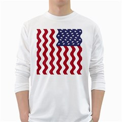 American Flag White Long Sleeve T Shirts by OneStopGiftShop