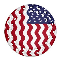 American Flag Round Filigree Ornament (two Sides) by OneStopGiftShop