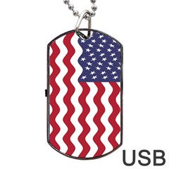 American Flag Dog Tag Usb Flash (two Sides) by OneStopGiftShop