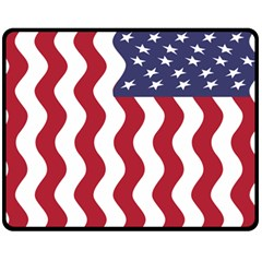 American Flag Double Sided Fleece Blanket (medium)  by OneStopGiftShop