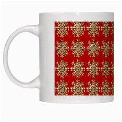 Snowflakes Square Red Background White Mugs