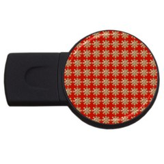 Snowflakes Square Red Background Usb Flash Drive Round (2 Gb) by Nexatart