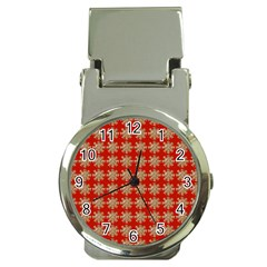 Snowflakes Square Red Background Money Clip Watches by Nexatart
