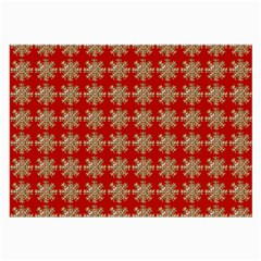Snowflakes Square Red Background Large Glasses Cloth (2 Side)