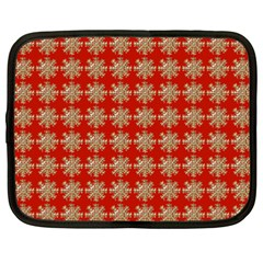 Snowflakes Square Red Background Netbook Case (xxl)  by Nexatart