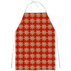 Snowflakes Square Red Background Full Print Aprons