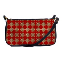 Snowflakes Square Red Background Shoulder Clutch Bags