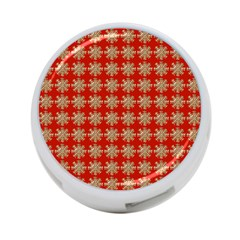 Snowflakes Square Red Background 4 Port Usb Hub (two Sides)